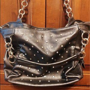 Charming Charlie Gray rhinestone encrusted purse